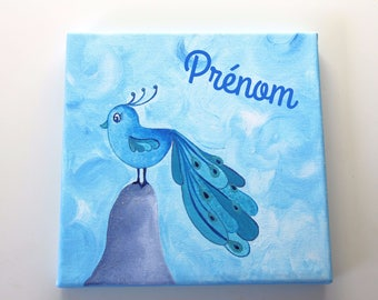 Frame / kids table, a custom painting with the name of your child miss chick Peacock dress