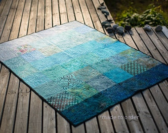 Modern Quilts Turquoise Ocean Quilt Custom Sizes King Queen Double Twin Throw or Crib Size Quilt Fiber Art Ombre Quilt Handmade Blue Ocean