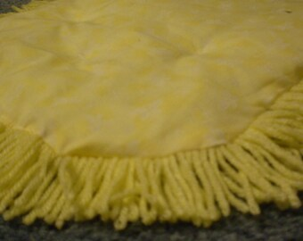 Catnip Crinkle Mat Toy Bed Butterfly Print with  Fringe        for cats and ferrets Recycled