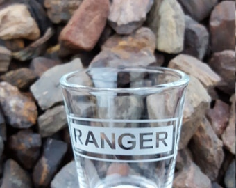 Army Ranger Etched Shot Glass Custom