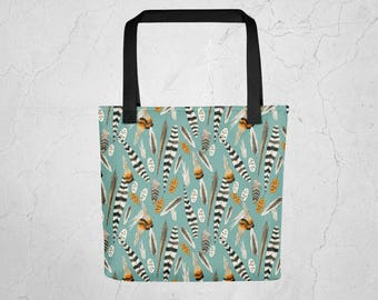 Fine Feathers Allover Print Tote Bag
