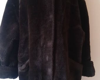 Vintage Faux Fur Knee Length Coat Womens