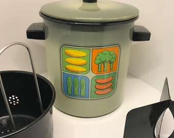 1970s AVOCADO ENAMEL STEAMER unused with steamer basket divider lid and killer veggie and wiener graphics Mid century kitchen kitsch