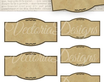 Blank Apothecary Labels - printable / add your own text - VD0445