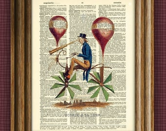 A Trip to the Moon Steampunk Bicycle Balloon print over an upcycled vintage dictionary page book art