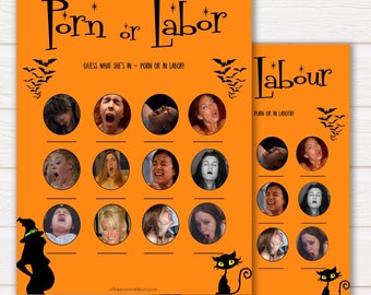 Halloween Porn or Labour Game, Labor or Porn Baby Shower Game, Porn or Labor, Labour or Lovin Baby Shower Game, Baby, Porn or Labor Game HW1