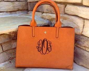 Beautiful monogram purse ~ Monogram Purse ~  preppy monogram purse ~ medium size ~ beautiful brown purse ~ spring color purse ~ double bag