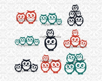 Owl Families Mom Dad up to 3 children sets SVG STUDIO Ai EPS Scalable Vector Instant Download Commercial Use Cutting File Cricut Silhouette