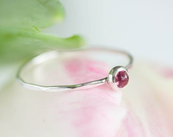 Tiny pink Tourmaline ring - skinny silver stacking ring with rose cut pink tourmaline stone, October birthstone 3mm