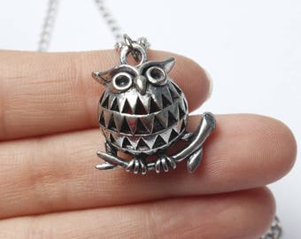 Silver Owl Necklace, Owl Jewelry Necklace, Simple Necklace. Affordable Owl Necklace. Feathery Owl Necklace.