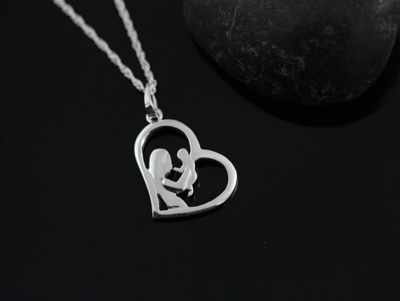 Mom and baby necklace new mom necklace baby shower gift mozeypictures Image collections