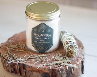 Pine Needles Soy Candle//8oz//Hand-Poured//Pine//Forest//Fresh