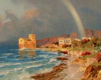 Antique print.1903.Ideal landscape, the Rainbow and the sea.Chromolithograph.113 year old print.Rainbow print.6,6x9,8 inches.25x17cm.
