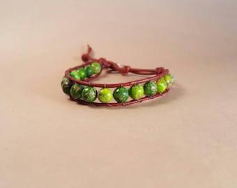 Green Jasper beaded leather bracelet