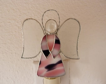 Angel Night Light, Pink Purple Stained Glass, Wall Plug In, Guardian Angel, Handmade, Womens Teens Girls  Bedroom Bathroom Nursery Decor