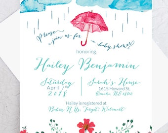 April Showers Baby Shower Invite -- Spring Baby Shower, Watercolor Shower Invitation
