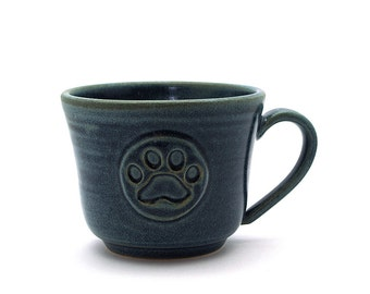 Blue Paw Print Coffee Mug Pet Pawprint Pottery Gift for Dog or Cat Lovers