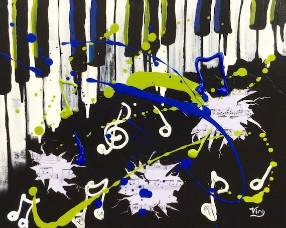Abstract Music Notes Art: Music Note Art Abstract Painting Original Piano Key Artwork