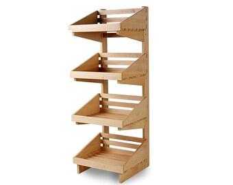 4 Tier Wooden Display Stand - Shelves. Shop display. Floor display. Point of sale. - SP086