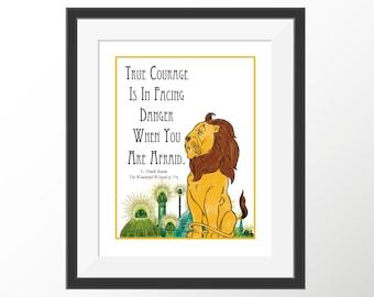 Wizard of Oz Art Lion Kids Room Wall Decor Nursery Decor Art Prints Storybook Book Quotes Literature Baum Quote Art Print