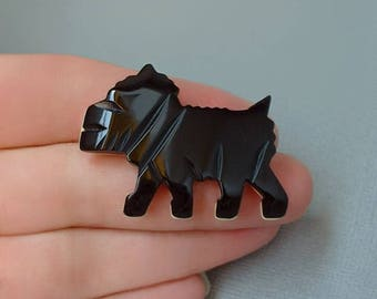 Vintage BLACK Bakelite Scottie Dog BROOCH, Art Deco SCOTTY Dog Pin, Carved Bakelite Jewelry, Early Plastics c.1930's, Gift for Her