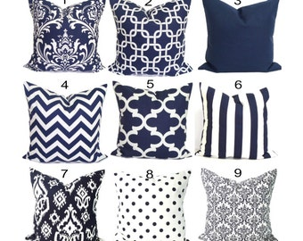 Navy Blue Pillows, Blue Decorative. Blue Pillow Cover.Navy Blue Pillow.Blue Decorative Pillow, Blue Euro Shams.Blue Euro Pillow.Blue Cushion