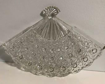 Vintage Fan Shaped Glass Serving Dish !