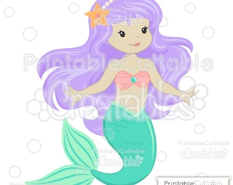 Cute Mermaid SVG Cut File & Clipart E154 - Includes Limited Commercial Use!