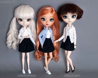 3 piece set Black skirt, T-Shirt, Shirt with collar for Pullip, Pure Neemo, Azone, Blythe, Dal, Obitsu 27 dolls
