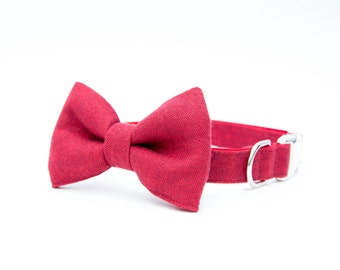 Christmas Dog Bow Tie Collar - Red Herringbone Flannel