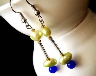 freshwater pearl earrings, feminine, one of a kind, avant garde jewelry, hippie style, christmas gifts for her, gifts under 20, gift for her