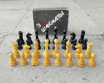 Chess pieces set wood // Soviet chessmen vintage 1996 made // Russian wooden small chess figures
