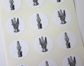 Hyacinth Potted Flower Stickers One Inch Round Seals
