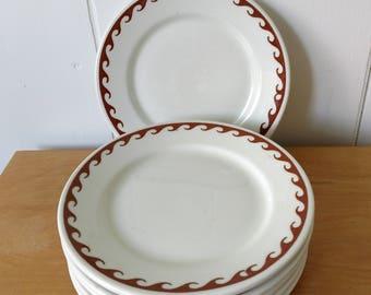 vintage restaurant ware Warwick 1948 set of 6 snack plates