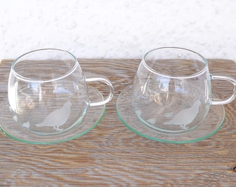Set of 2 Thin Glass Cups and Saucers, Hand Etched Glass Quail Mom and Babies, Clear Glass, Punch Cups, Coffee Cups, Tea Cups, Espresso Cups