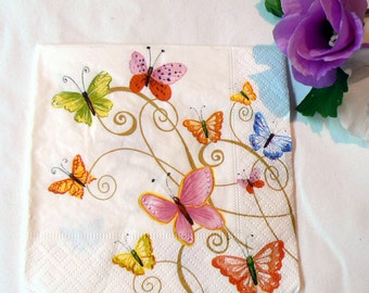 2 Napkins  butterflies from Germany