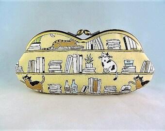 Library Cat Soft Eyeglass Case - Eye Glass Case - Sunglasses Case - Cat Lover Gift - - Book Lover - Cute Glasses Case - Sunglass Case