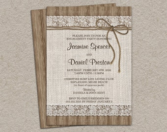 Rustic Engagement Invitation With Burlap And Lace, DIY Printable Rustic Engagement Party Invitations, Burlap Engagement , Lace Engagement