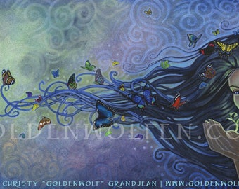 Mystical Woman with Butterflies Print