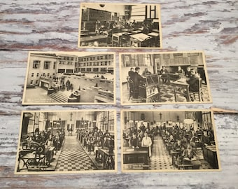 Vintage Postcards,Belgian Postcards, School for Blind and Deaf Boys, School Postcard, Postcard Set, Class Room Postcards