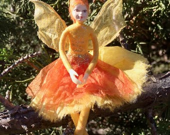 "Fae Folk® Fairies - STAR - Stardust Fairy. Bendable, posable 5"" soft doll can sit, stand, or hang."
