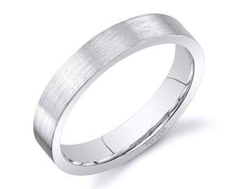 14k White Gold Band (4mm) / PLAIN / Matte Brushed Flat + Comfort Fit / Men's Women's Wedding Ring