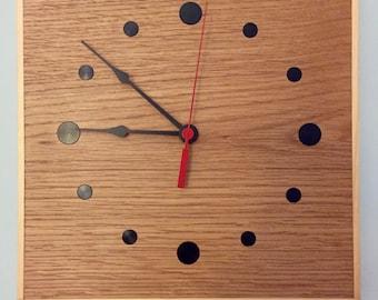 Oak dot clock - plain hands