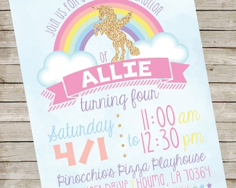 Rainbow Unicorn Invitation PIY file ~ Rainbow Unicorn Printable ~ Unicorn Birthday Invite Digital File
