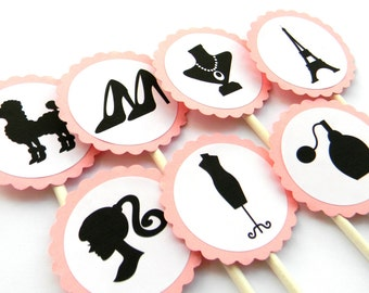 12 French Boutique Cupcake Toppers, Paris Theme, French Birthday, Paris Baby Shower, Girls Night Out, Silhouette Party, Parisian Theme