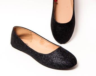 Glitter - Black Onyx Ballet Flat Slipper Shoes
