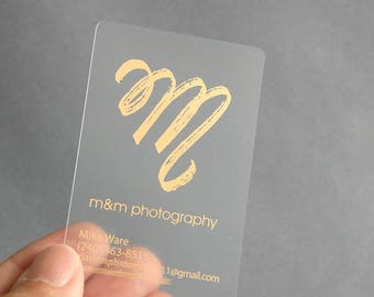 800 Business Cards - Frosted plastic stock - with metallic foil - free rounded corners