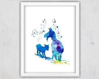 Nursery Farm Animals Print, Goat Print, Printable Art, Download Print, Kids Poster, Watercolor Nursery Digital Art, Instant Wall Art Print