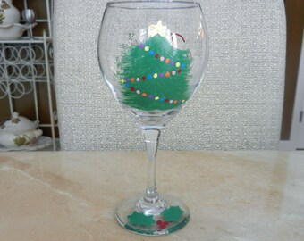 Christmas Tree hand painted 12 oz  Wine Glass Merry Christmas and Holly Berry base