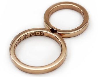 14k rose gold wedding ring set, Promise ring, Wedding ring for men, Wedding band, love ring, Set of 2 rings that make a heart wedding bands,